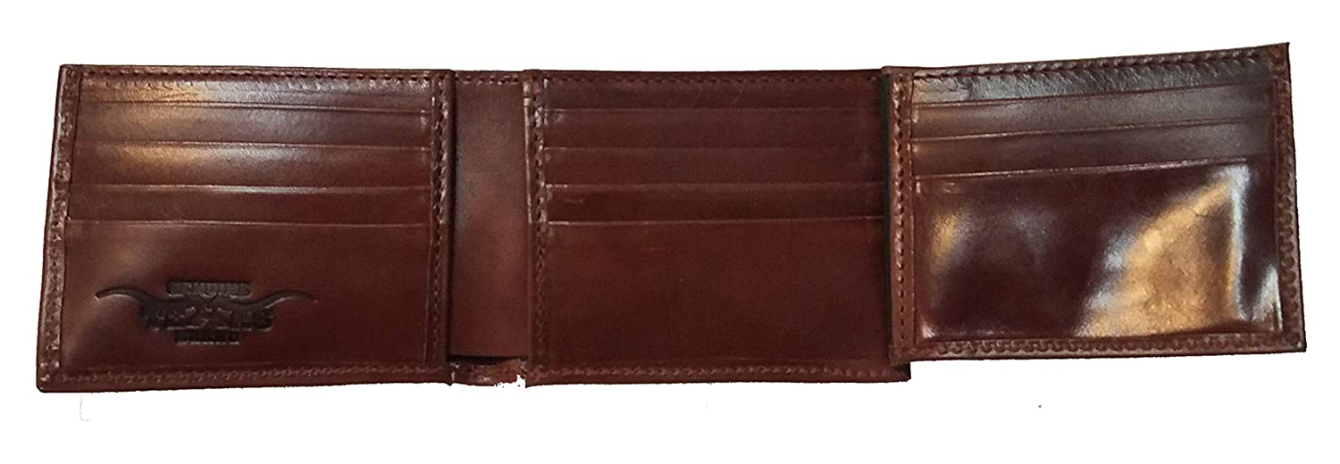 Proudly made in the USA. Custom Fallen Bikers Concho on a Brown Harness Leather Flip ID Bi-fold Wallet