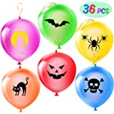 Halloween Decoration Balloons, 36PCS 6 Themes Halloween Balloons Punching Balloon for Halloween Birthday Party Classroom Deco
