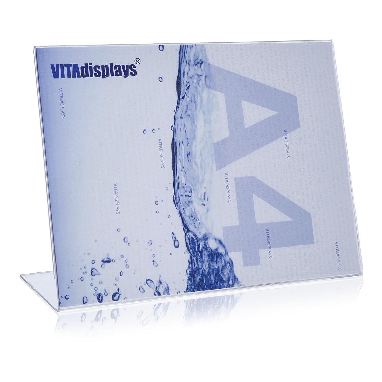 trasparente acrilico-380Q vetro VITAdisplays/® L espositore per volantini ne formato DIN A4/orizzontale//espositore da tavolo supporto per//L//Poster portabiglietto////Diagonale