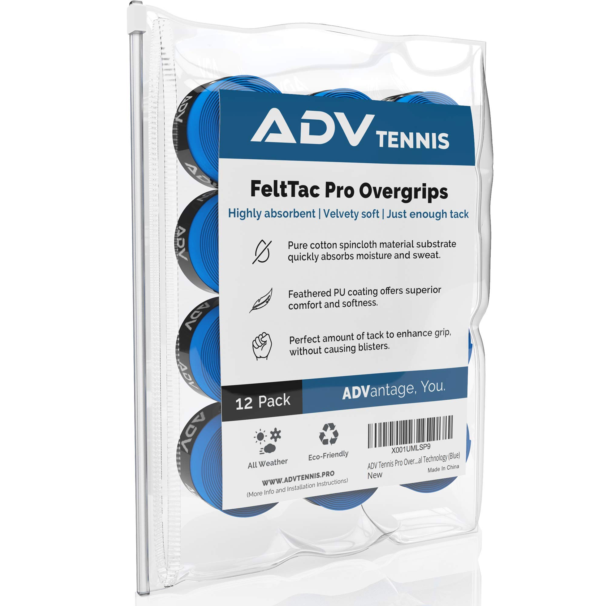 ADV Tennis Dry Overgrip - Remarkably Absorbent - Must Feel Velvety Comfort - Exclusive FeltTac Material (12 Pack, Blue)