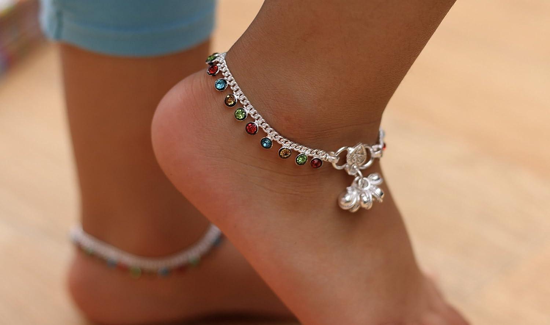 Girls Multicolour Diamante Style Ankle Bracelet Payal
