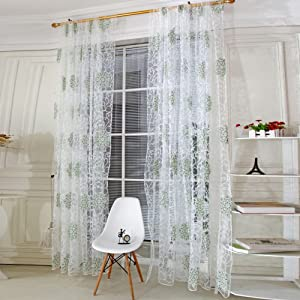 Norbi Floral Tulle Room Window Curtain Sheer Voile Panel Drapes Curtain Green …