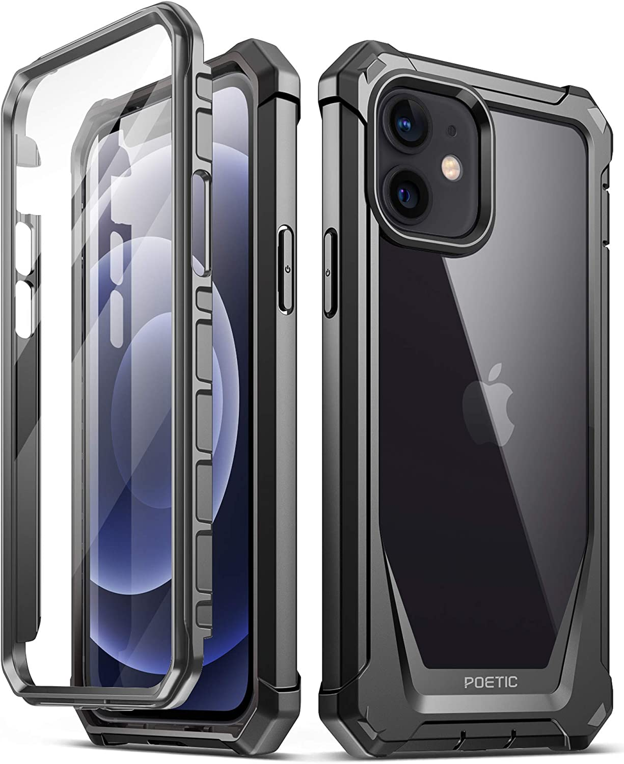Poetic Guardian Series for iPhone 12 Case/iPhone 12 Pro 6.1 inch Case, Full-Body Hybrid Reinforced Shockproof Protective Rugged Clear Bumper Cover Case with Built-in-Screen Protector, Black/Clear