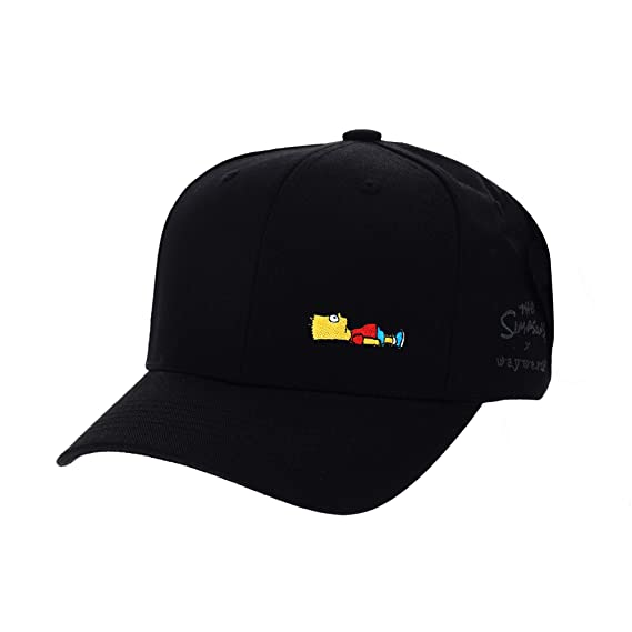 94586065180 WITHMOONS The Simpsons Baseball Cap Bart Simpson Lying Down Comics HL1716  (Black)