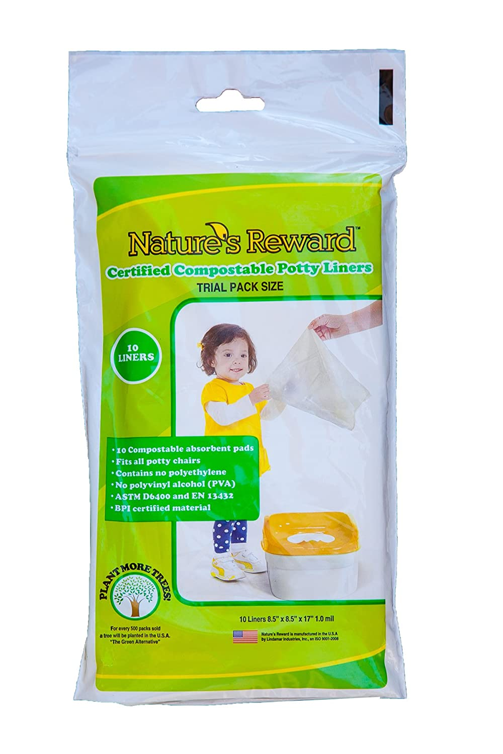 Natures Reward Toddler Potty Chair Liners, Eco-Friendly, Fits Most Potty Chairs: Trial Pack - 10 Liners