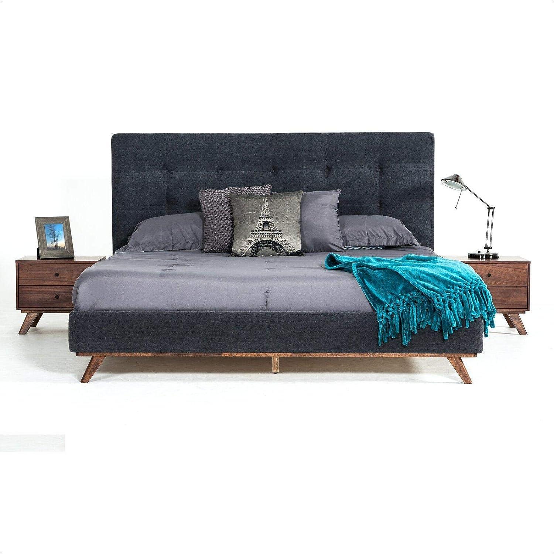 Solid Wood Tufted Upholstered Low Profile Platform Bed Furniture Decor