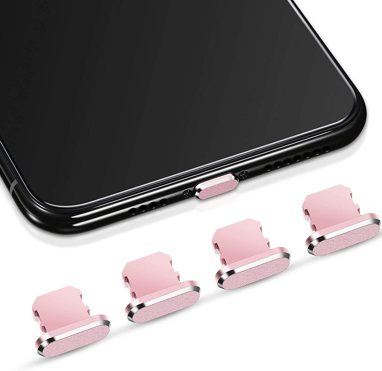 Weewooday 4 Pieces Anti Dust Plugs Compatible with iPhone 11, iPhone 12 Protects Charging Dust Cover Compatible with iPhone 11, 12, Pro, Max/X/XS/XR, 7, 8 Plus, iPad Mini/Air (Rose Gold)