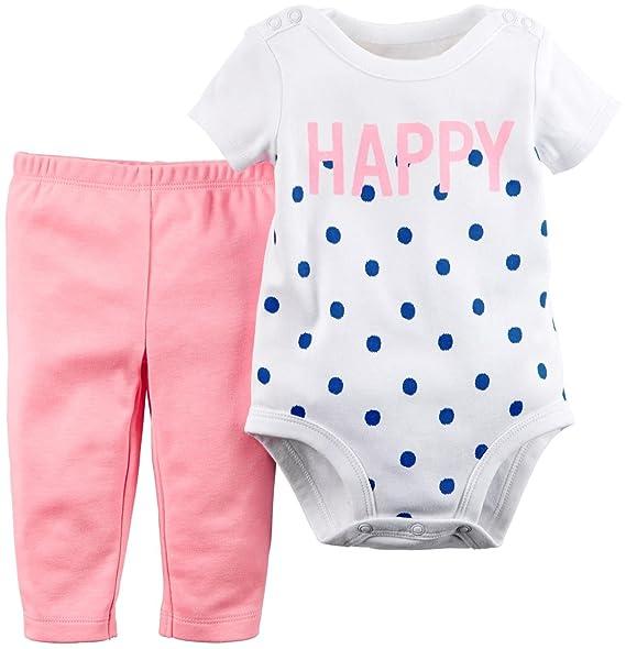 Amazon.com: Carter bebé niña 2 pieza blanco Happy Creeper ...
