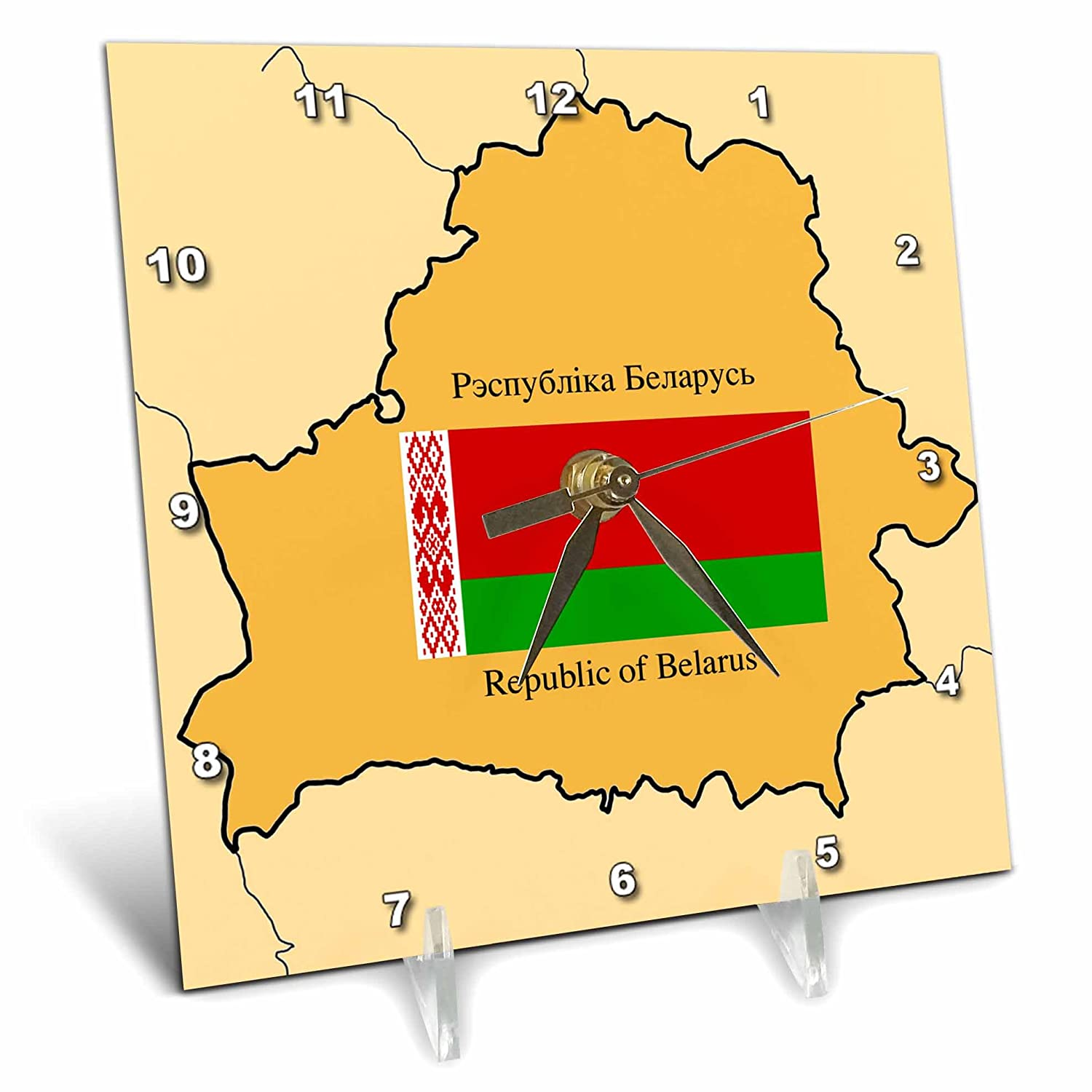 dc/_47322/_1 Map and Flag of Belarus with Republic of Belarus printed in English and Belarusian 6x6 Desk Clock 3dRose 777images Flags and Maps