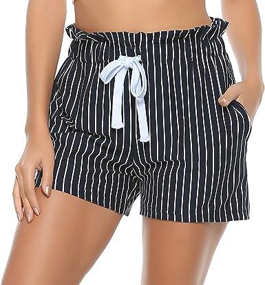 Hawiton Pantalones Cortos Mujer Verano de Algodón Pantalón de ...