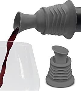 Wine Stopper and Pourer –Gray Silicone Two in One Accessory to Serve and Save Wine More Easily by Simply Charmed