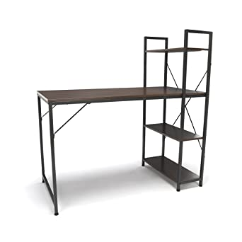 Fabulous Essentials Office Desk With 4 Shelf Unit Modern Computer Desk And Workstation Gray Walnut Ess 1004 Gry Wnt Download Free Architecture Designs Scobabritishbridgeorg