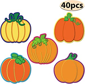 Thanksgiving Pumpkin Cutouts Classroom Decoration Pumpkin Colorful Cutouts with Glue Point Dots for Bulletin Board Classroom School Fall Theme Party, 5.9 x 5.9 Inch