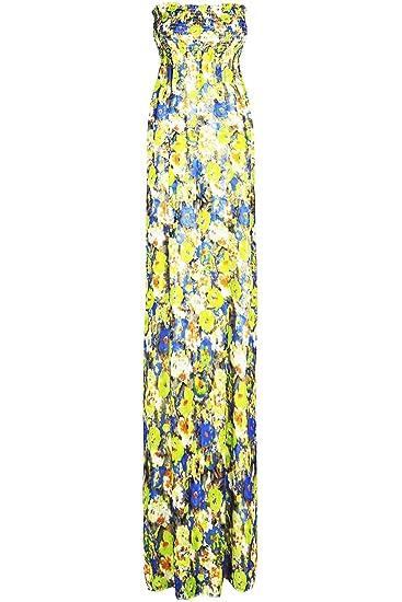 38c0beecc0 Be Jealous Womens Gathered Bandeau Long Print Sheering Boobtube Ladies Strapless  Maxi Dress UK 8-22  Amazon.co.uk  Clothing