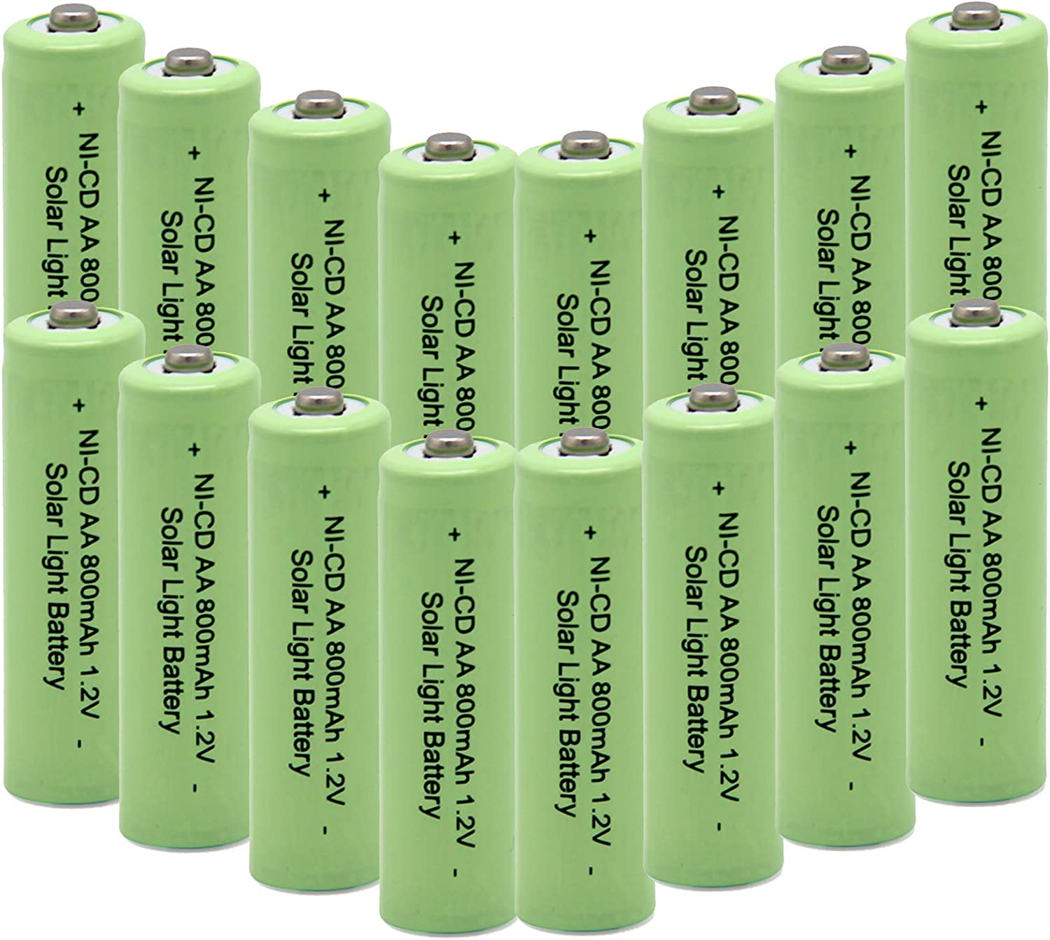 QBLPOWER Ni-CD AA 800mAh 1.2V Rechargeable Battery for Solar Outdoor Lights Lamp Garden Yard Lawn(16 Pieces)