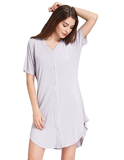c6bc6061c5 Zexxxy Women Button Down Pajama Top with Contrast Piping Mid Sleeve Gray S