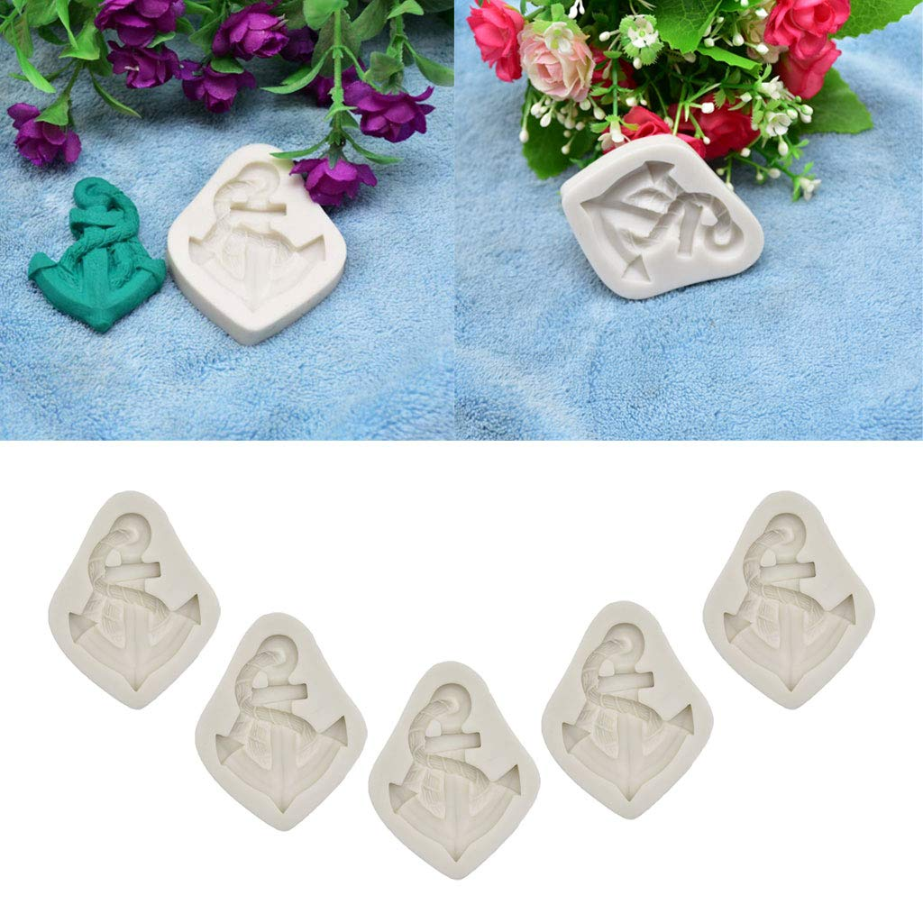 F Fityle Set di 5 Stampi in Silicone A Forma di Ancora Strumenti Fatti A Mano Fai da Te per Decorazione della Torta A Tema Marino per Cioccolato Fondente