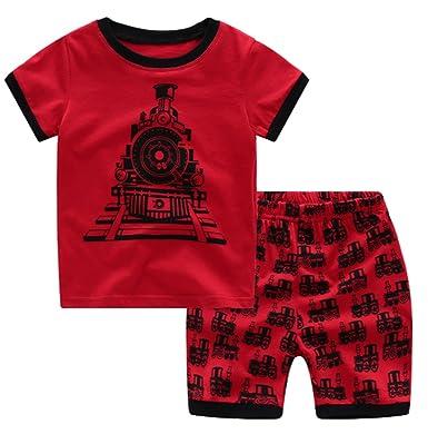 9135cdac644f Amazon.com  Summer Little Boys  Cartoon Car Pattern Short Sleeve ...