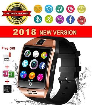 Montre Connectée,Smartwatch Bluetooth Smart Watch Phone Montre Intelligente Sport Montre Connectée avec Slot SIM Carte Caméra Podomètre pour Samsung ...