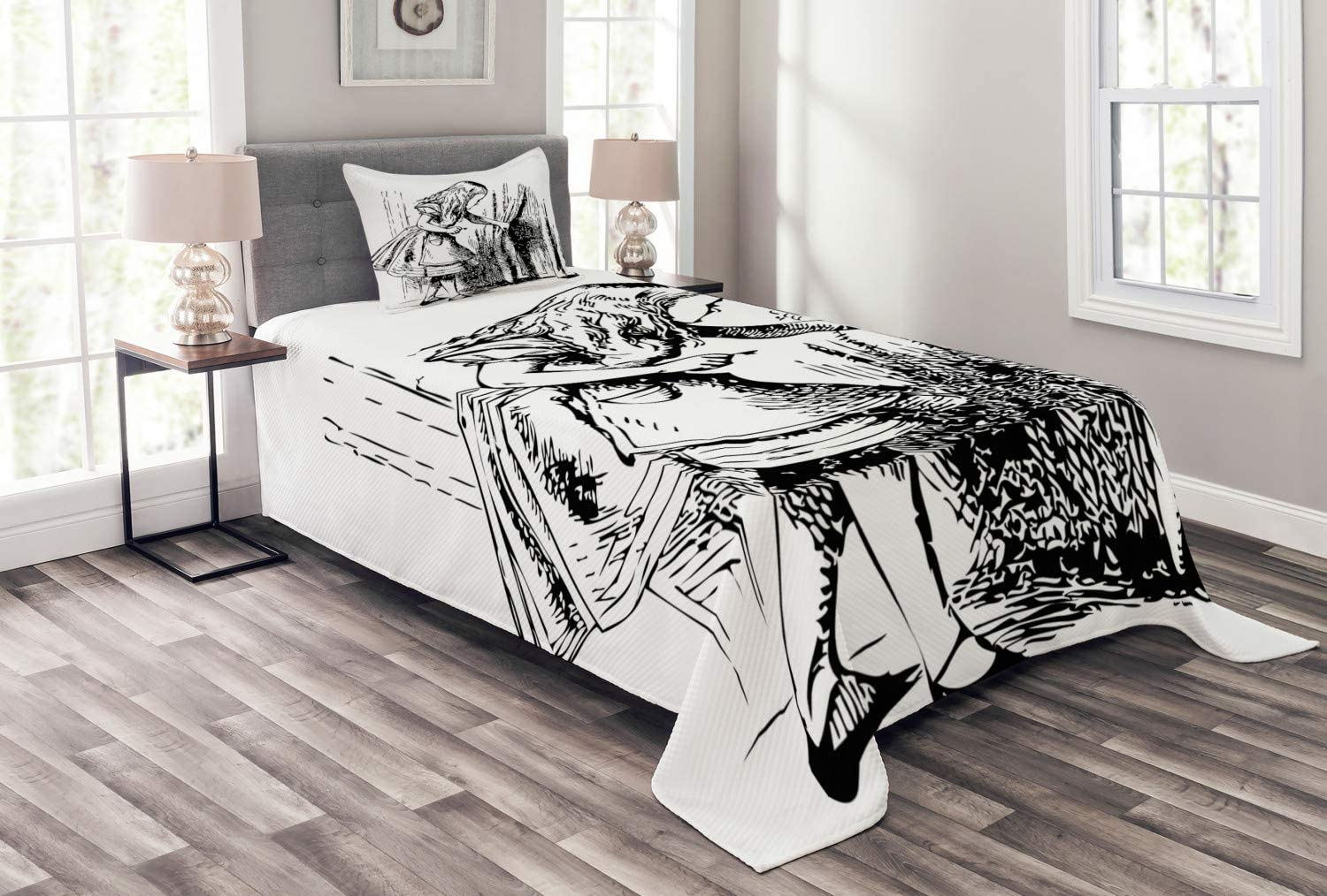 Ambesonne Alice in Wonderland Bedspread, Black and White Alice Looking Through Curtains Hidden Door Adventure, Decorative Quilted 2 Piece Coverlet Set with Pillow Sham, Twin Size, Black White