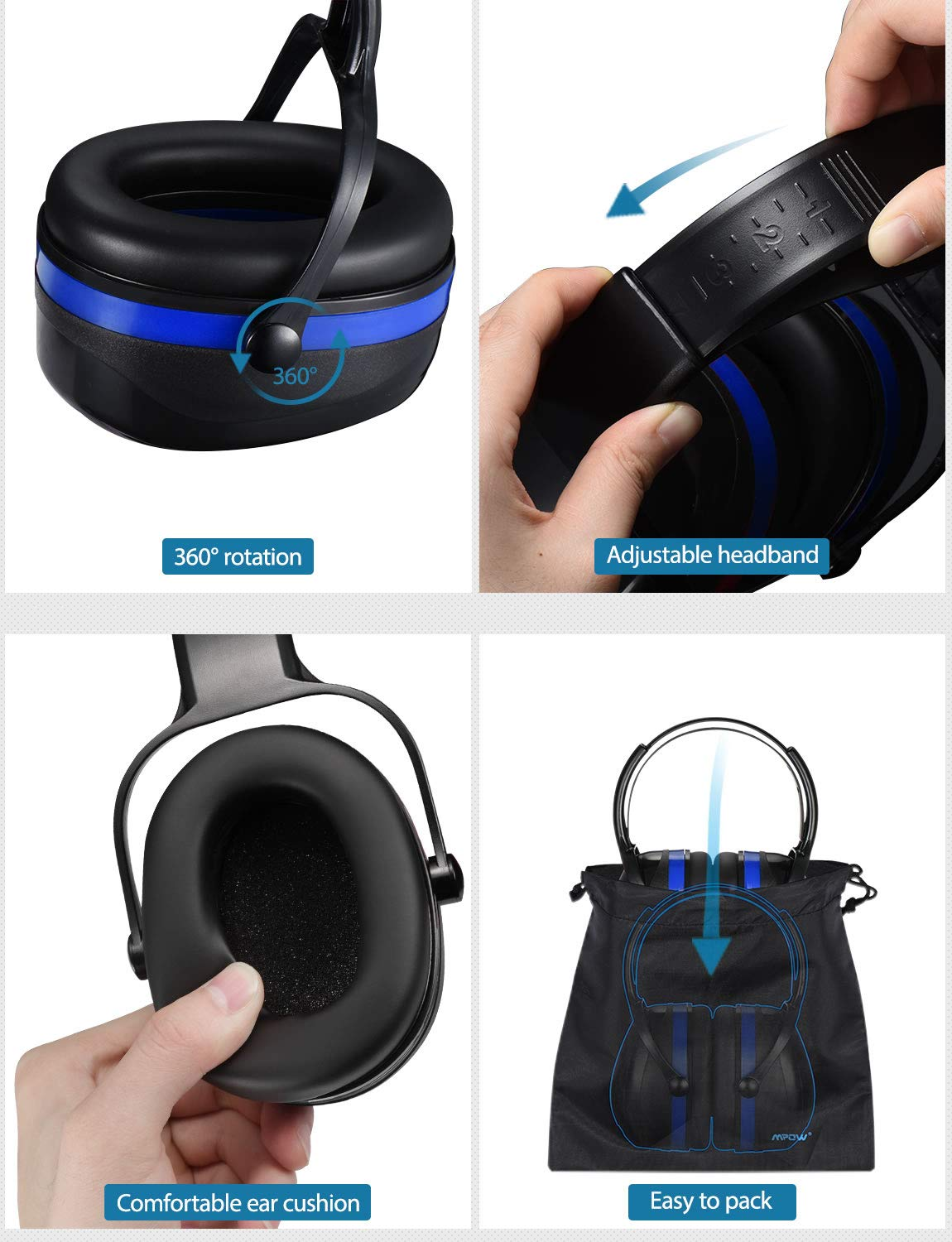 Mpow [Upgraded] Noise Reduction Safety Ear Muffs, Adjustable SNR 36dB Shooting Hunting Muffs, Hearing Protection with a Carrying Bag, Ear Defenders Fits Adults to Kids with Twist Resistant Handband by Mpow (Image #3)