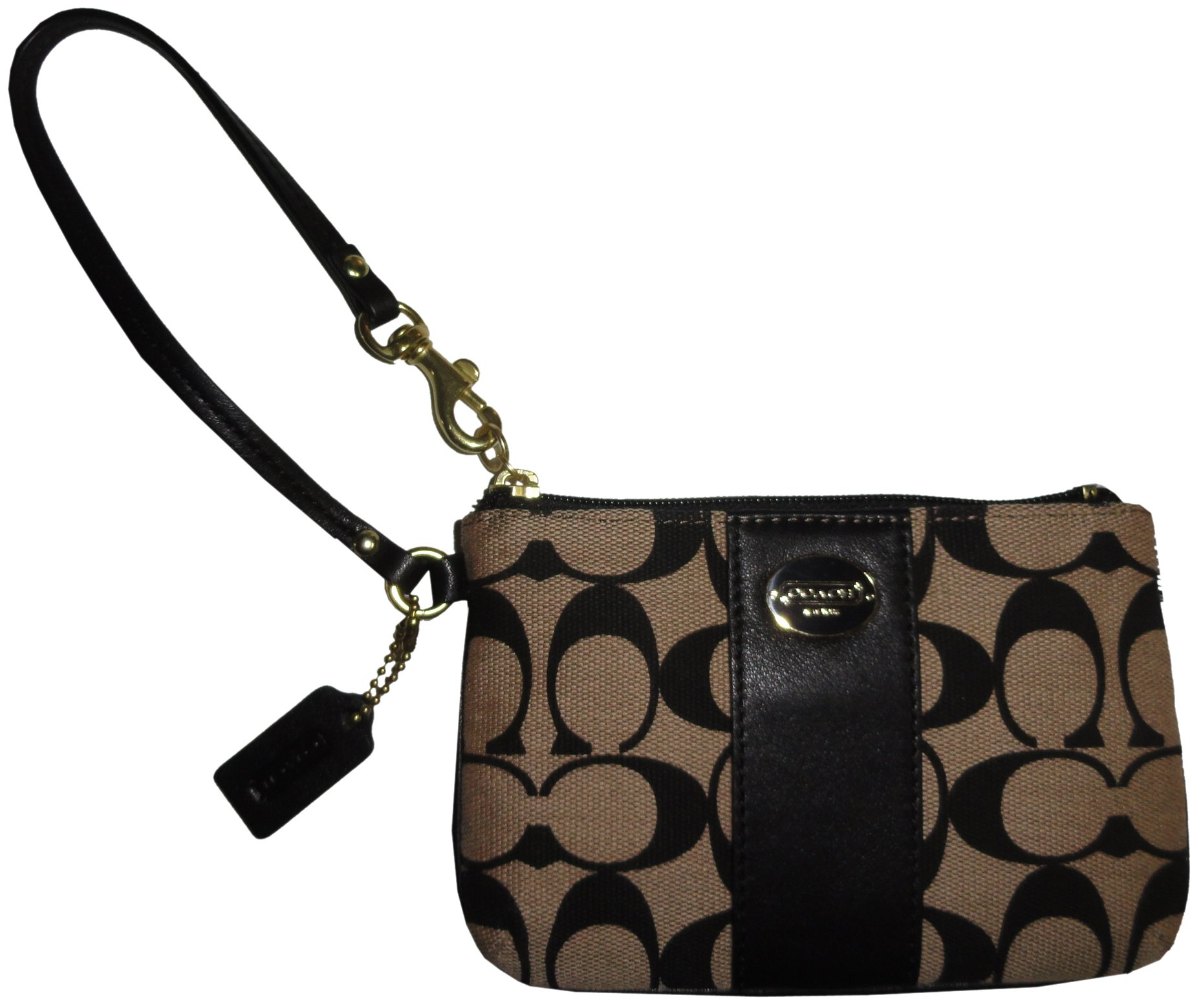 Coach Legacy Signature C Print Khaki Black Jacquard Leather Phone Wristlet, 50497