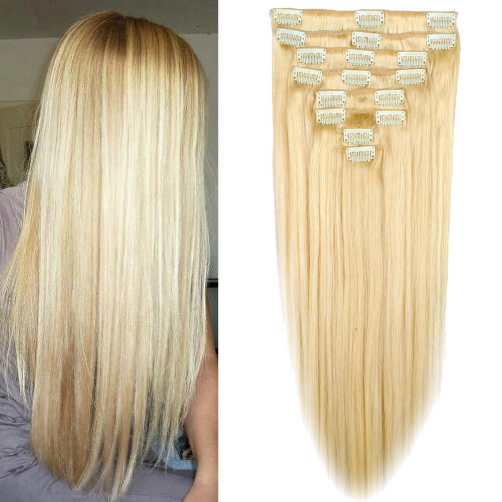 Lelinta 20'' 8Pcs 100% Remy Real Human Double Weft Thick Hair Straight Extension by Lelinta