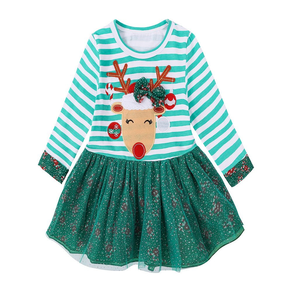 ❤️Mealeaf❤️ Baby Boys and Girls Clothes with Toddler Kids Baby Girls Deer Striped Princess Dress Christmas Outfits Clothes (1-2 Years Old, Green) meal-leaf