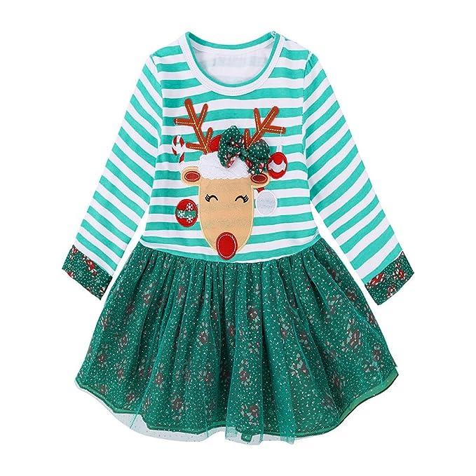 Homebaby Neonata Bambino Piccolo Costume Cosplay di Natale Cervo a Strisce Stampare  Vestito Ragazze Vintage Mini 6ffb97490ce