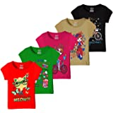 Kiddeo Girl's Cotton T-Shirts - Pack of 5