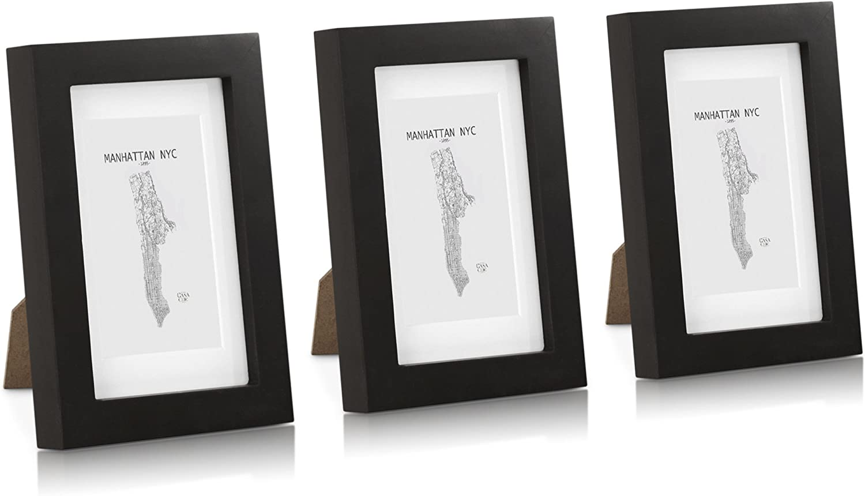 Glasfront Classic by Casa Chic Bilderrahmen aus Massivholz Schwarz Holz Rahmenbreite 2 cm 6x4 15 x 10 cm 3 St/ück mit Passepartout