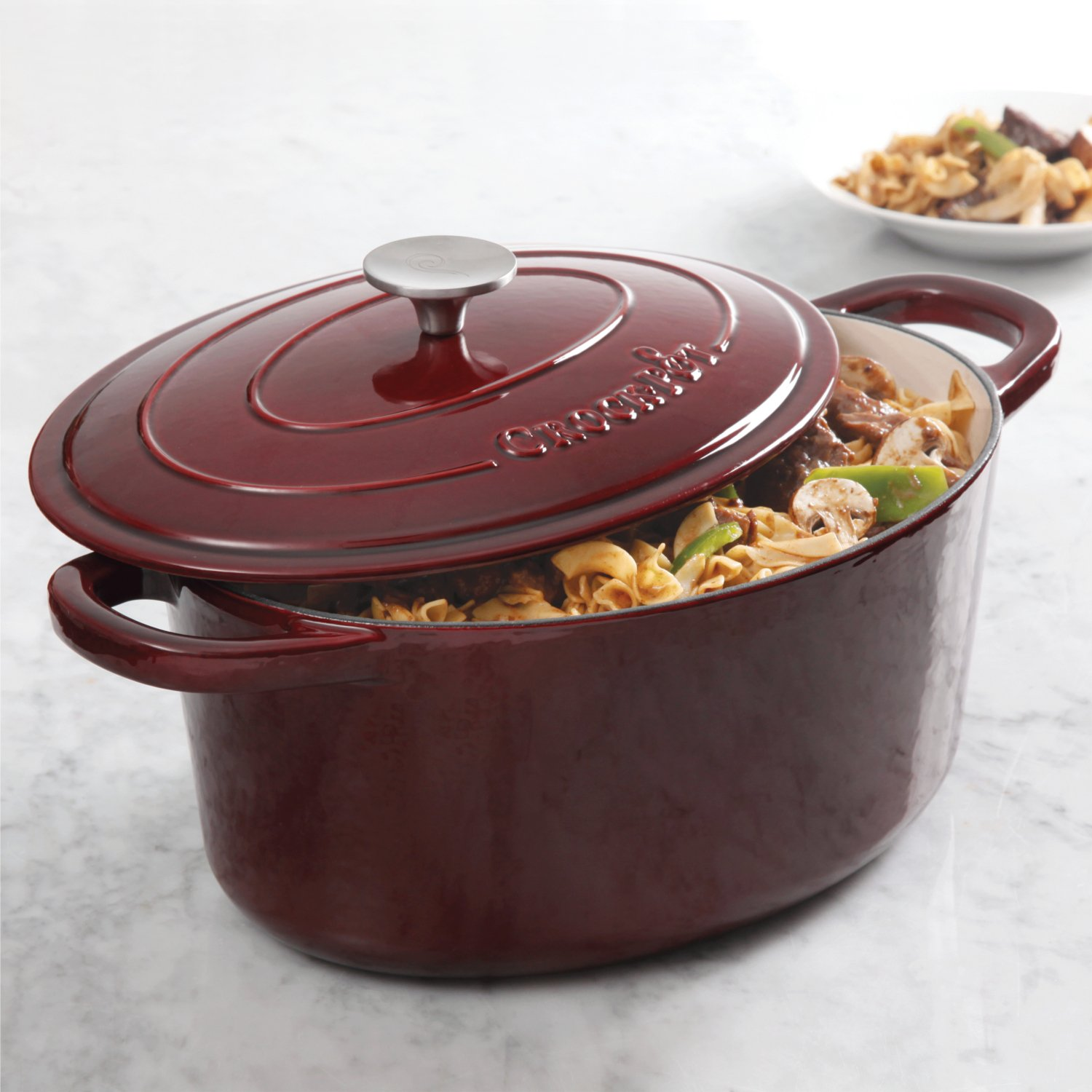 Crock Pot Artisan 7QT Oval Dutch Oven, Burgundy