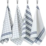 Syfinee Kitchen Dish Towels, 100% Cotton Tea Towels & Bar Towels, White & Blue Dish Towels(Size 20 x 28 Inches) Super Soft &