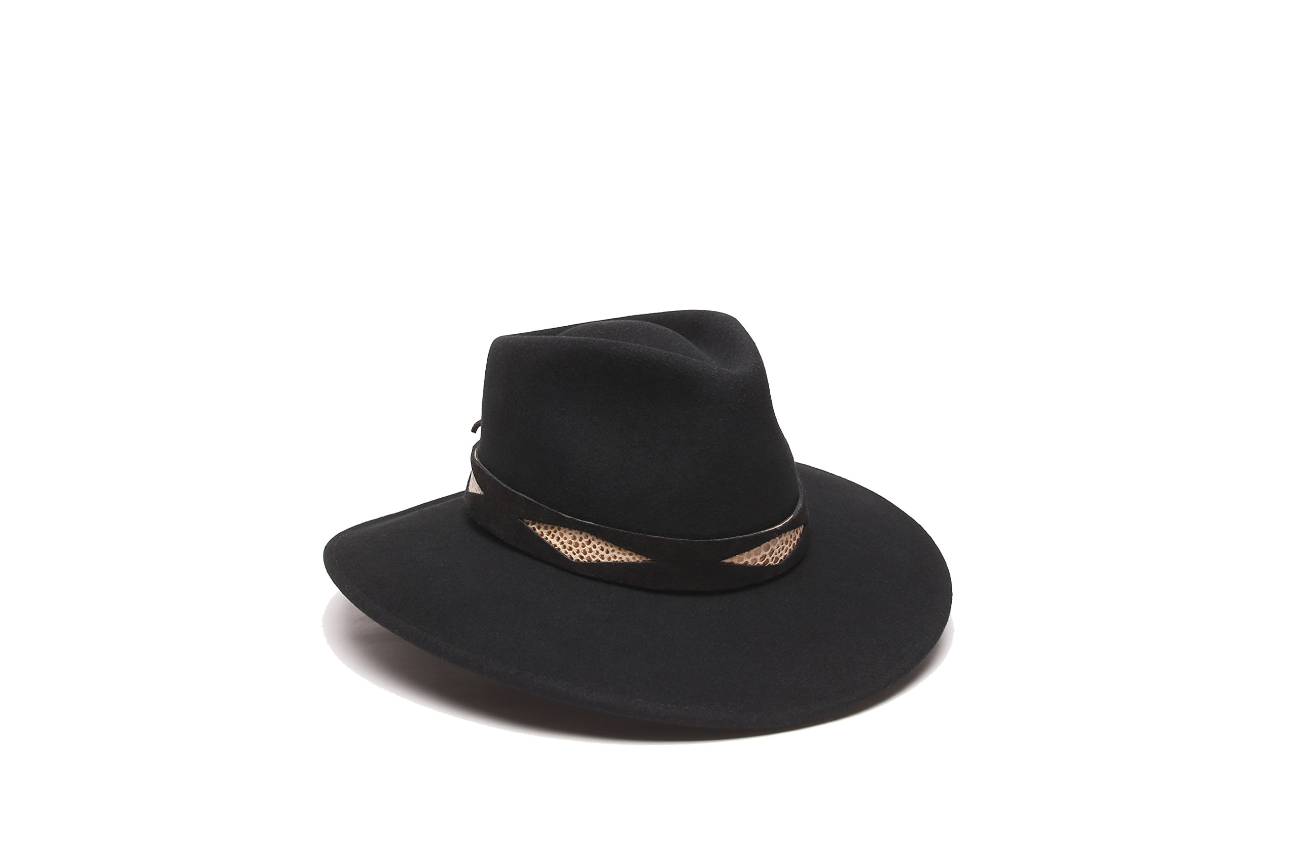 'ale by alessandra Women's Cobra Adjustable Felt Hat With Suede Trim, Black, Adjustable Head Size
