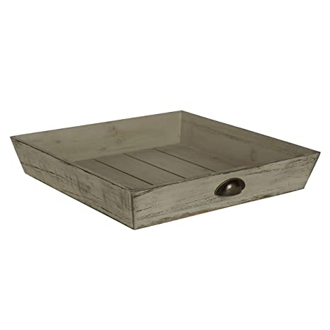 Pleasant Kate And Laurel Woodmont Distressed Wood Square Ottoman Tray Gray Uwap Interior Chair Design Uwaporg