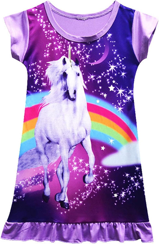 Neko-Baby Girls Unicorn Nightgown Sleep Shirts Printed Star Rainbow Nightshirt Casual Nightie Princess Night Dresses