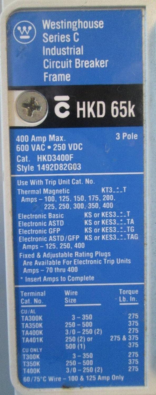 Westinghouse HKD3400F 400A Circuit Breaker 400 Amp Plug Cutler ...