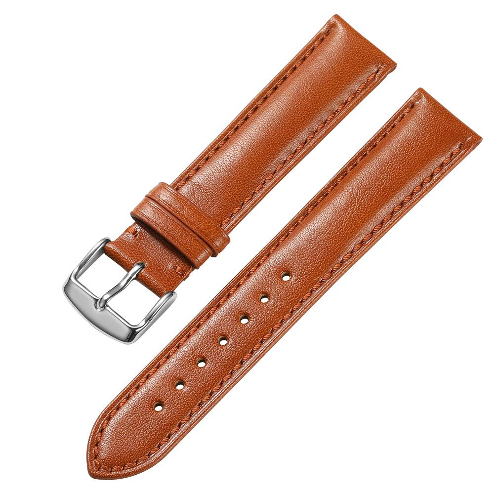 d153e0870 Amazon.com: iStrap 21mm Genuine Calfskin Leather Watch Band Padded Soft Replacement  Strap Steel Spring Bar Buckle: Watches
