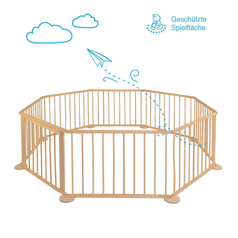 Gro/ß Gehschule f/ür Garten Eckig Aus Holz Baby Laufgitter Absperrgitter f/ür drinnen Faltbar Kinderzaun XXL Mobiler Laufstall Klappbar