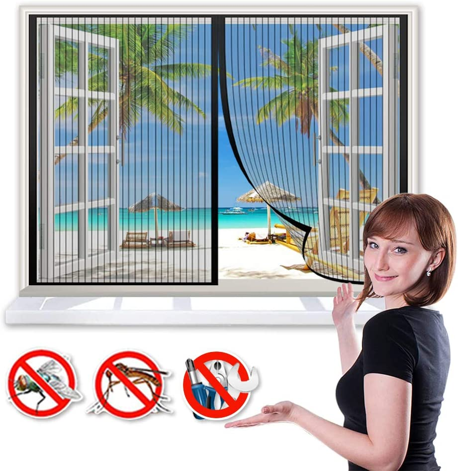 Mosquitera Puerta Magnetica 100x105cm Cortina Magnética para Puerta, Cerrado automáticamente Plegable Protección contra Insectos, para Ventana Correderas - Negro