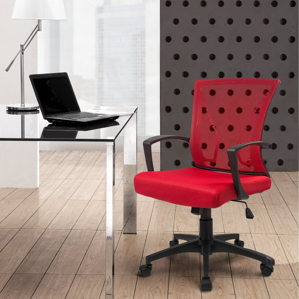 Furmax Office Chair Mid Back Swivel Lumbar Support Desk Chair, Computer Ergonomic Mesh Chair with Armrest Red