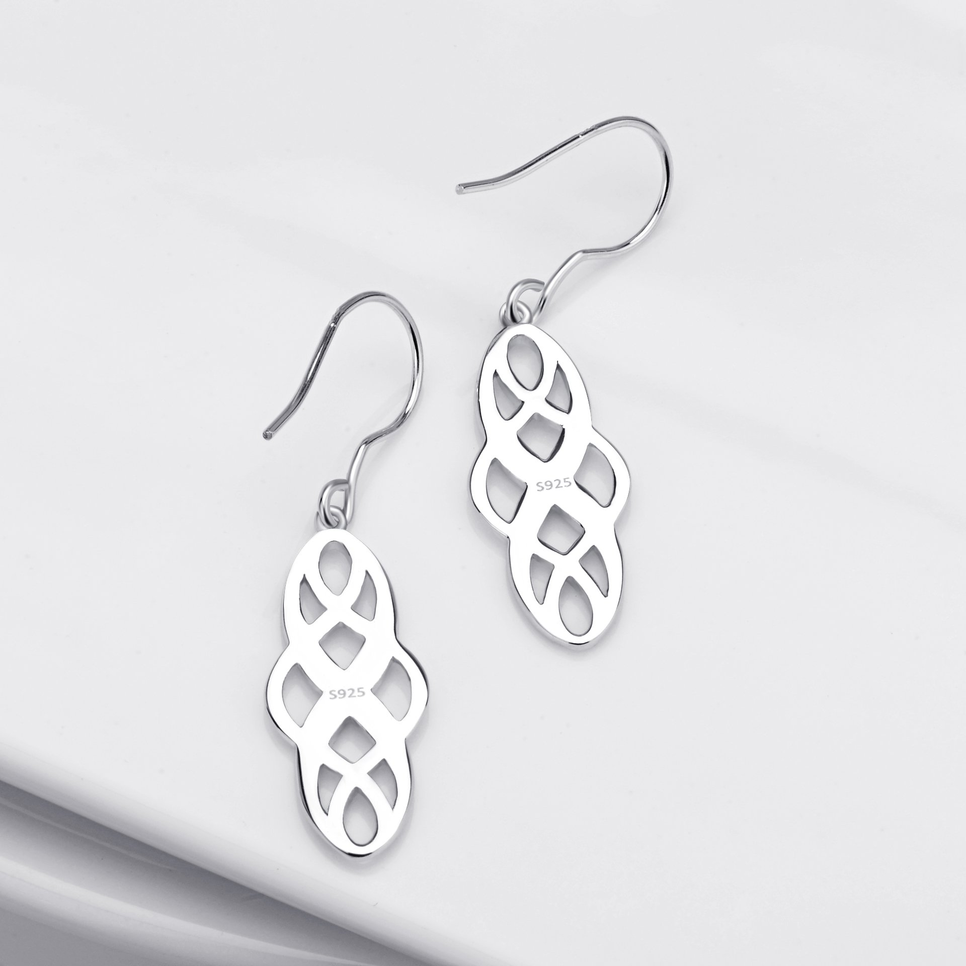 S925 Silver Earrings Solid Sterling Silver Polished Good Luck Irish Celtic Knot Vintage Dangles (Platinum) by Angel caller (Image #5)