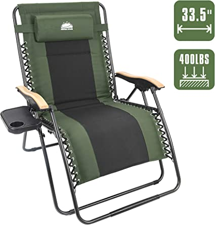 Amazon Com Coastrail Outdoor Oversized Zero Gravity Chair Wood Armrest Padded Xxl Folding Patio Lounge Adjustable Recliner With Cup Holder Side Table 400lbs Weight Capacity Green Garden Outdoor