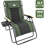 Coastrail Outdoor Oversized Zero Gravity Chair Wood Armrest Padded XXL Folding Patio Lounge Adjustable Recliner with Cup…