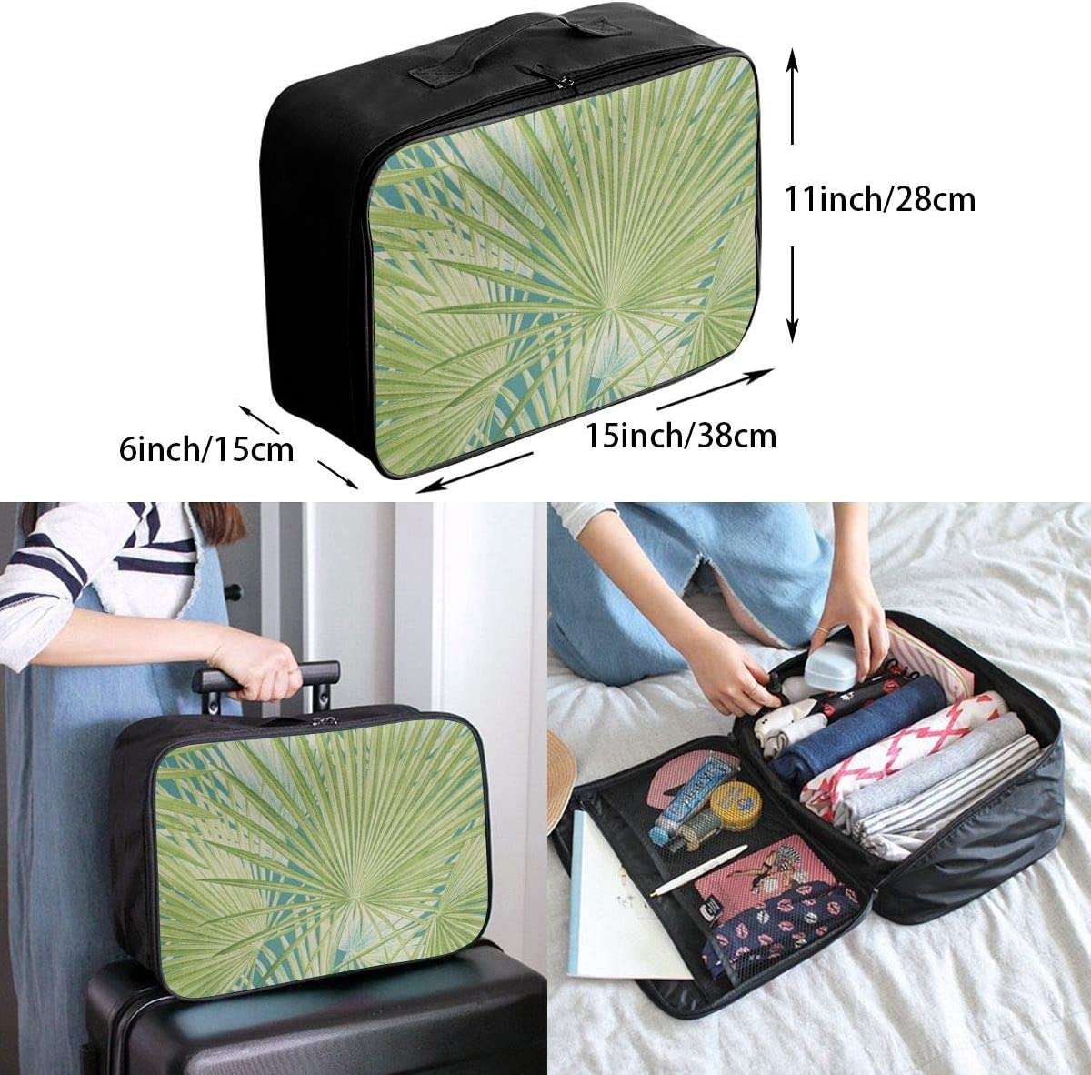 Travel Bags Tropical Palm Leaf Turquoise Green Portable Foldable Amazing Trolley Handle Luggage Bag