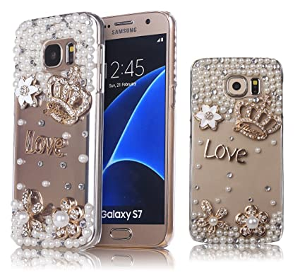 low priced 9a468 ba15d Galaxy S7 Case, Mini-Factory Bling Galaxy S7 Hard Crystal Glitter Diamond  Rhinestone Cover - Love Diamond Crown (NOT for Galaxy S7 Edge)
