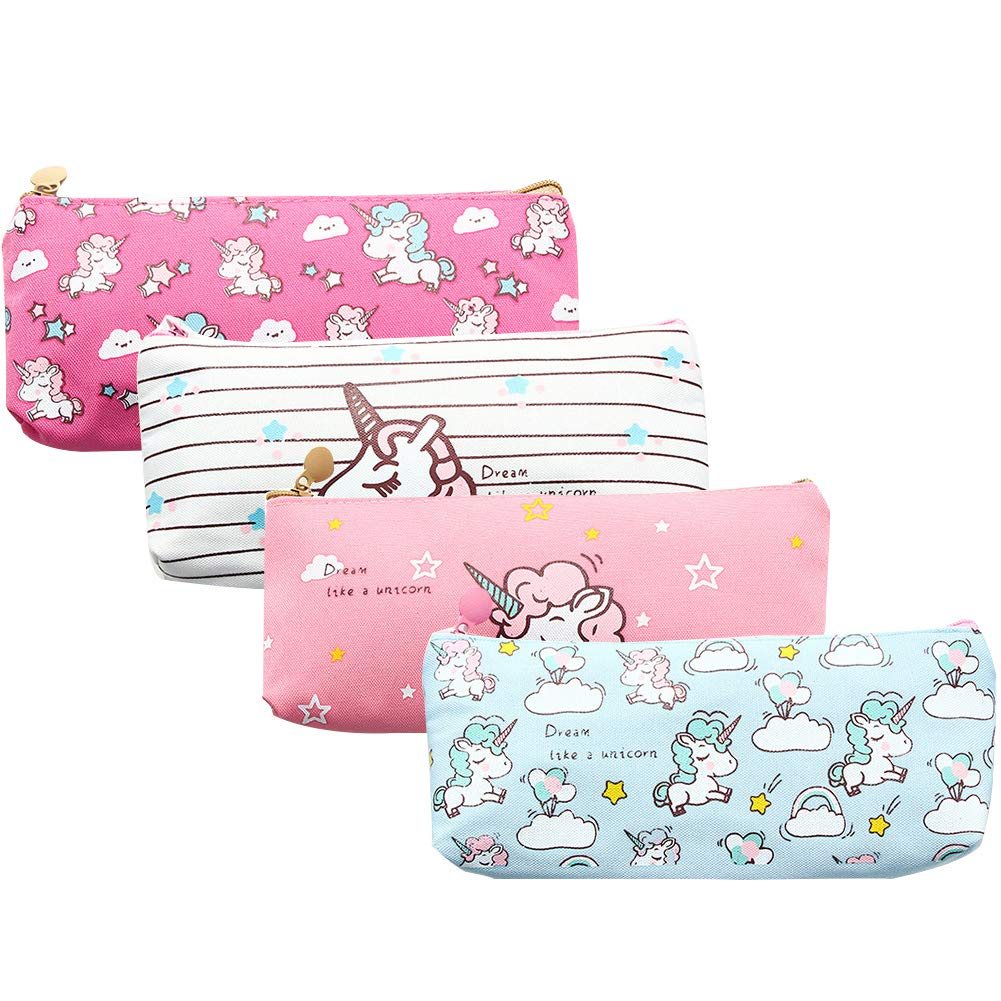 Unicorn Pen Holder Makeup Bag Organizer Canvas Pencil Pouch Zipper Stationery Purse Cute Wallet Portable Cosmetic Bags Travel Small Brush Storage Case 4PCS (Unicorn)
