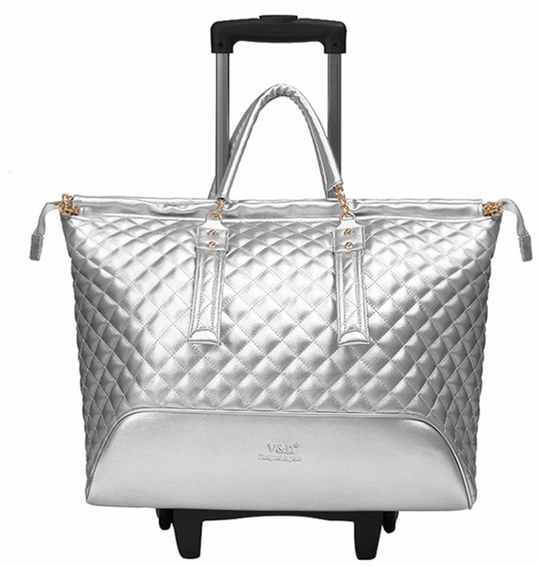 16 inch Fashion Wheeled Rolling Tote Garment Bag suitcase Luggage Spinner Mobile Office for women girls 2 colors (Silver)