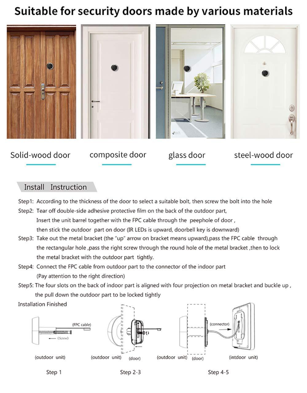 3 Inch No Disturbing Digital Door Viewer Security Cameras Door Cat Eye Doorbell with Night Vision by Asunflower (Image #5)