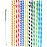Reusable Plastic Straws, BPA-Free. Senfhome Colorful 25 Pieces 9 Inch Thick Plastic Drinking Straw for Party or Family Use, with Free Cleaning Brush.